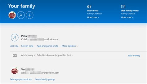 Microsoft Account - Settings available in Web Interface