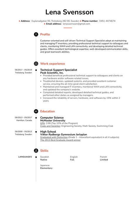 Technical Support Specialist Resume Example | Kickresume