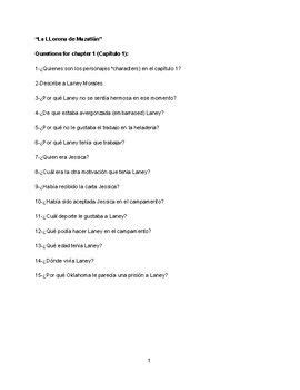 """These are comprehension questions about the novel: """"La"""