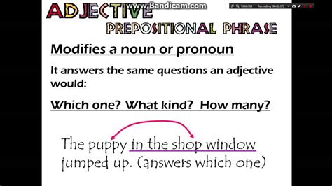 Adverb and Adjective Prepositional Phrases - YouTube
