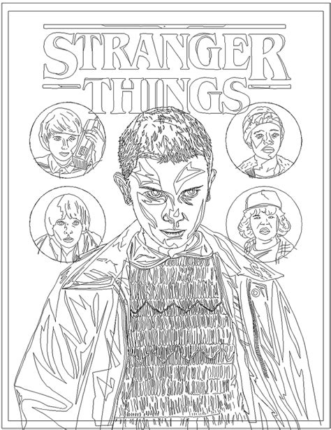 Stranger Things Coloring Page Printable | Cartoon coloring