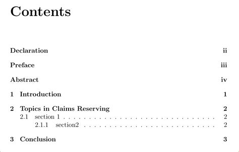 Roman numbering in table of contents using report - TeX