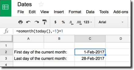 How do I get the first and last days of the current month