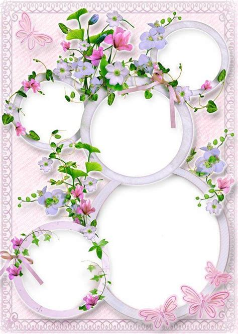 Flower frame collage psd for photoshop ( free photo frame