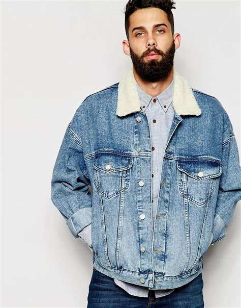 ASOS Oversize Denim Jacket With Borg Collar in Blue for